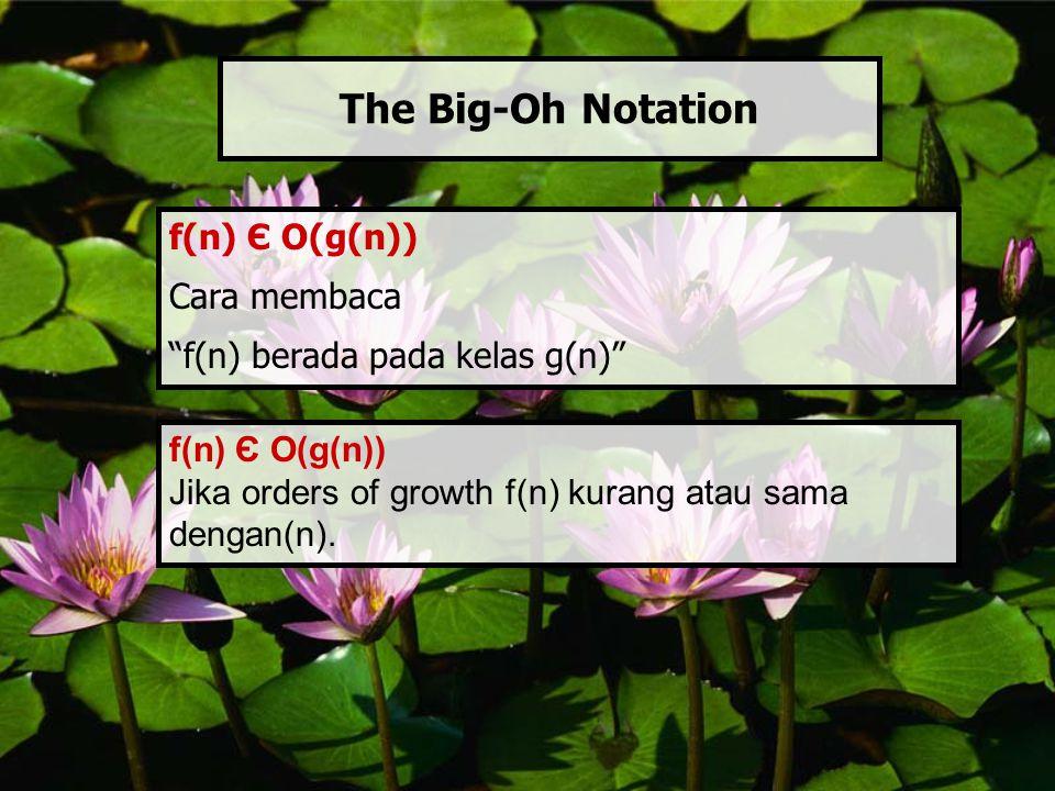 """f(n) Є O(g(n)) Cara membaca """"f(n) berada pada kelas g(n)"""" The Big-Oh Notation f(n) Є O(g(n)) Jika orders of growth f(n) kurang atau sama dengan(n)."""