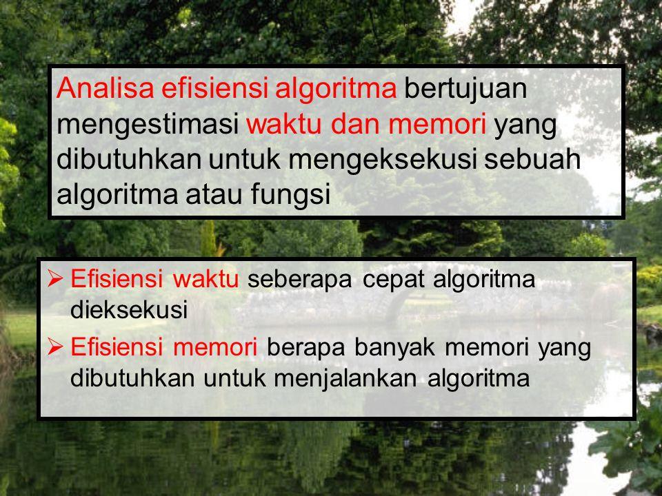 Ukuran input banyaknya data input yang diolah oleh algoritma Contoh : ??.