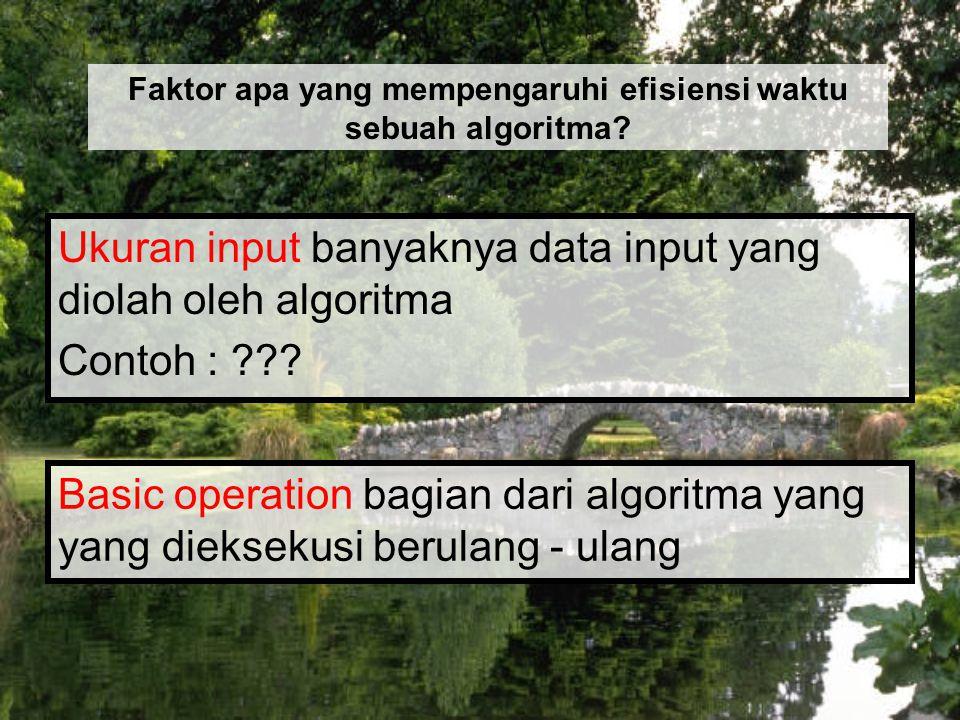 Ukuran input banyaknya data input yang diolah oleh algoritma Contoh : ??? Faktor apa yang mempengaruhi efisiensi waktu sebuah algoritma? Basic operati