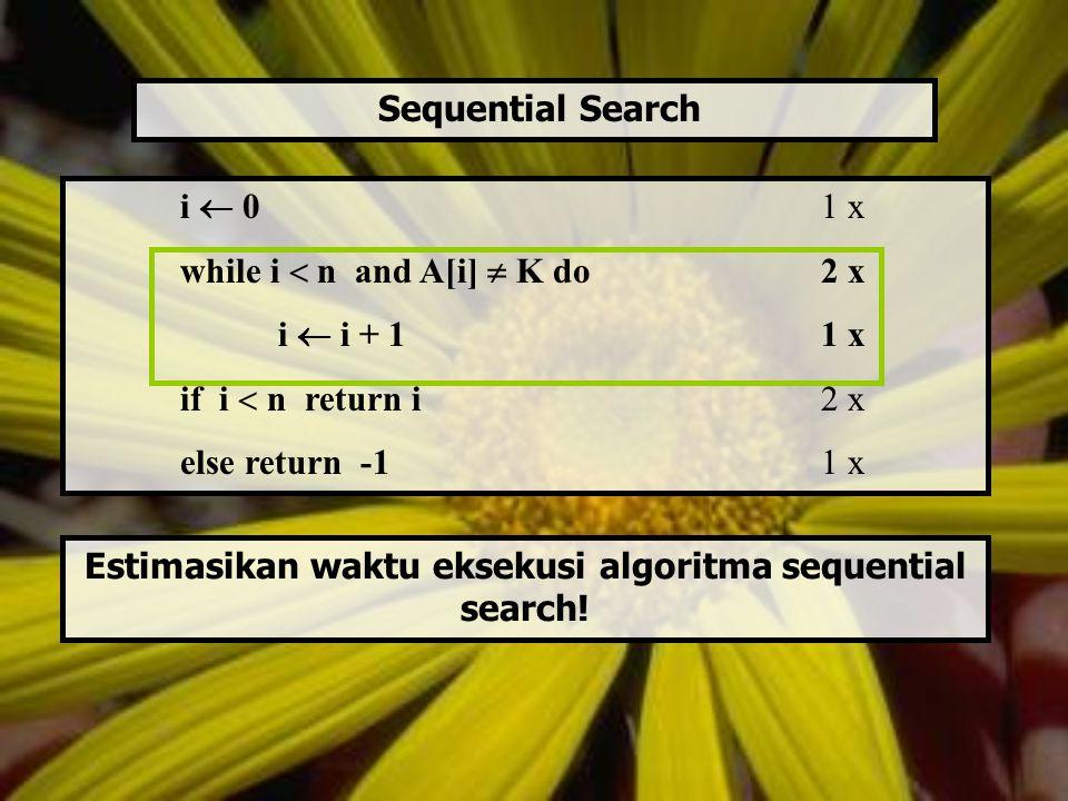 T(n) = estimasi waktu eksekusi algoritma untuk input berukuran n T(n) = cop x C(n) Cop = waktu untuk mengeksekusi basic operation satu kali.
