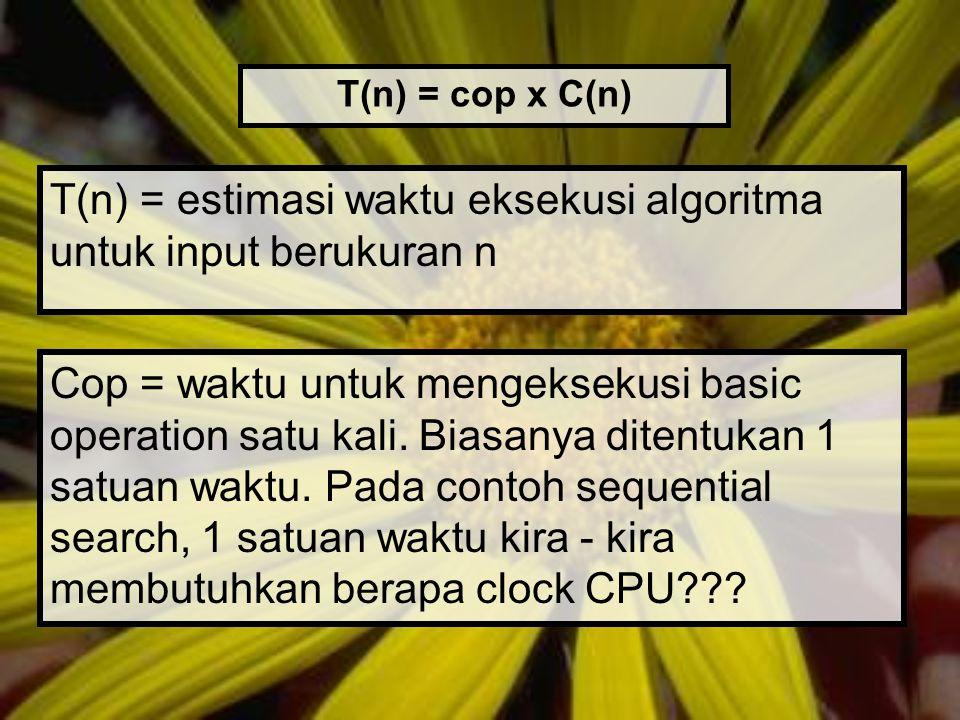 T(n) = estimasi waktu eksekusi algoritma untuk input berukuran n T(n) = cop x C(n) Cop = waktu untuk mengeksekusi basic operation satu kali. Biasanya