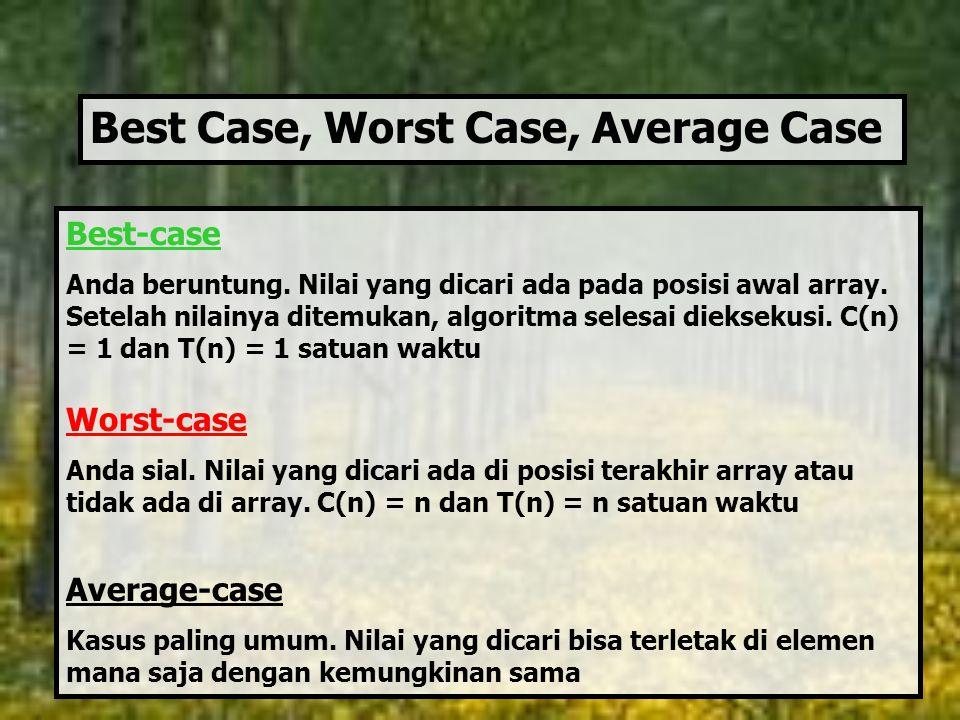 Best-case Anda beruntung. Nilai yang dicari ada pada posisi awal array. Setelah nilainya ditemukan, algoritma selesai dieksekusi. C(n) = 1 dan T(n) =