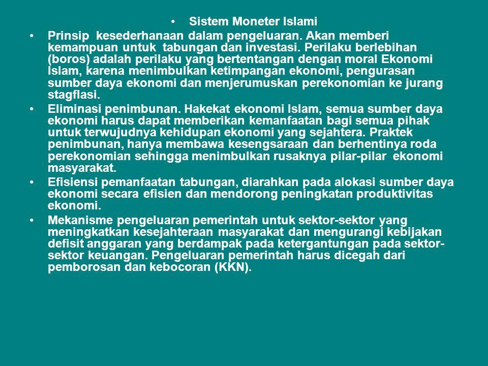 •Sistem Moneter Islami •Prinsip kesederhanaan dalam pengeluaran. Akan memberi kemampuan untuk tabungan dan investasi. Perilaku berlebihan (boros) adal