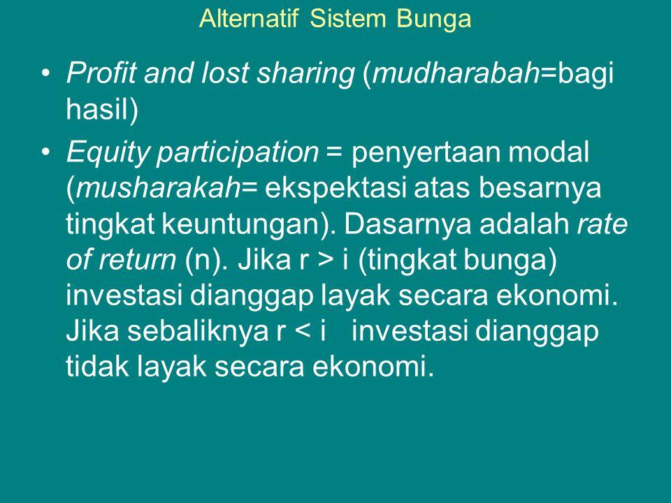 Alternatif Sistem Bunga •Profit and lost sharing (mudharabah=bagi hasil) •Equity participation = penyertaan modal (musharakah= ekspektasi atas besarnya tingkat keuntungan).