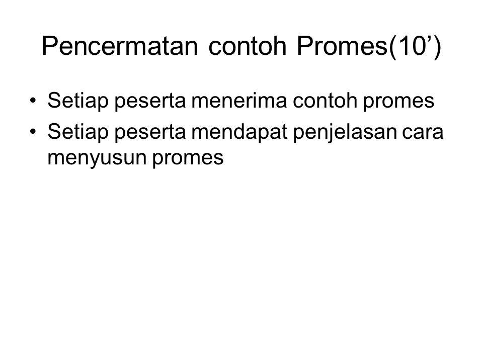 Pencermatan contoh Promes(10') •Setiap peserta menerima contoh promes •Setiap peserta mendapat penjelasan cara menyusun promes