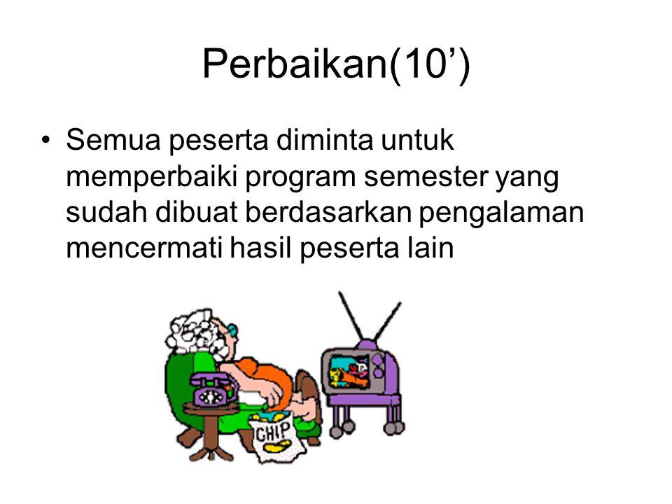 Perbaikan(10') •Semua peserta diminta untuk memperbaiki program semester yang sudah dibuat berdasarkan pengalaman mencermati hasil peserta lain