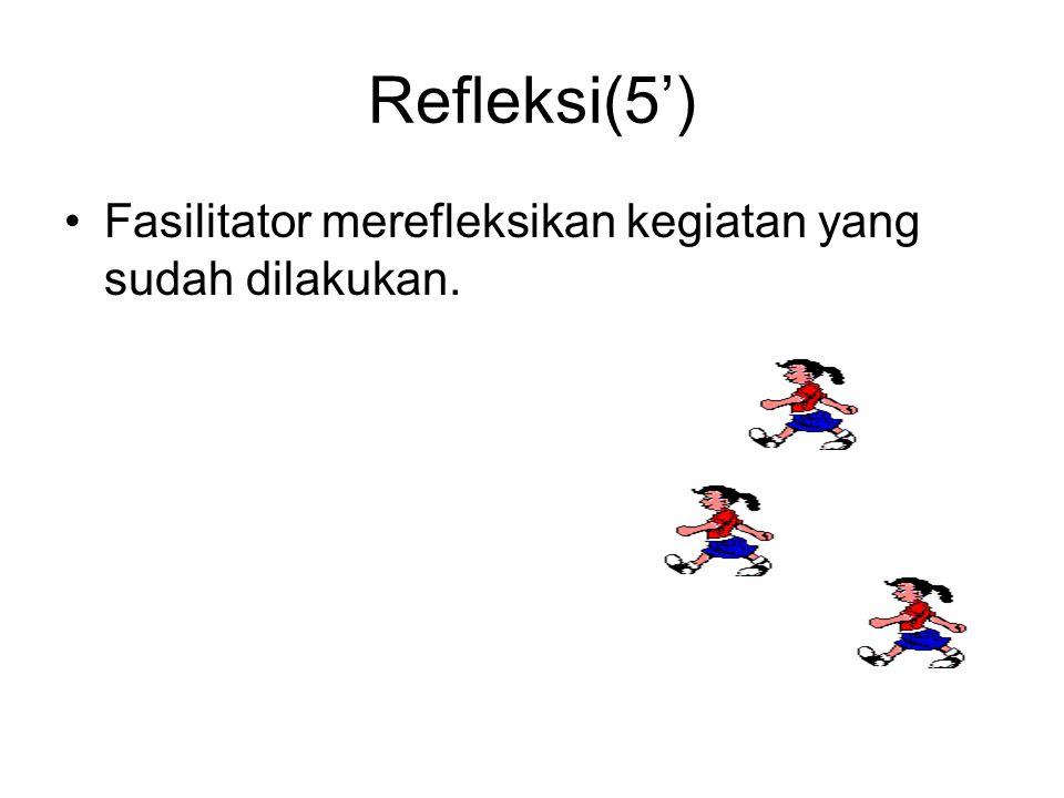 Refleksi(5') •Fasilitator merefleksikan kegiatan yang sudah dilakukan.