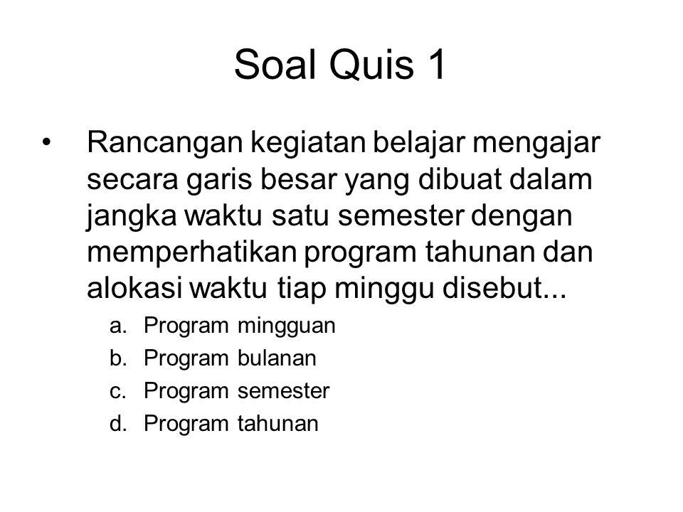 Soal Quis 2 •Guru kelas 4, 5 dan 6 dalam menyusun program semester didasarkan pada......
