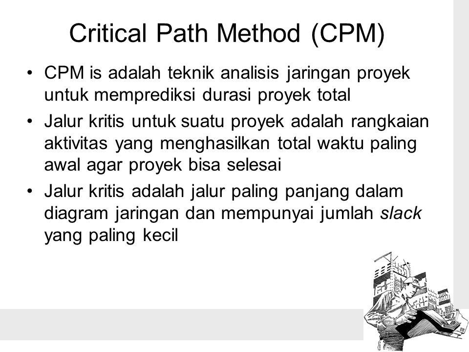 Critical Path Method (CPM) •CPM is adalah teknik analisis jaringan proyek untuk memprediksi durasi proyek total •Jalur kritis untuk suatu proyek adalah rangkaian aktivitas yang menghasilkan total waktu paling awal agar proyek bisa selesai •Jalur kritis adalah jalur paling panjang dalam diagram jaringan dan mempunyai jumlah slack yang paling kecil