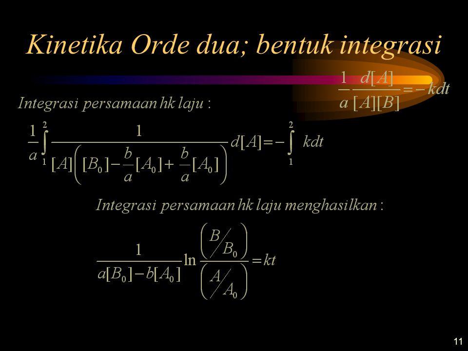 11 Kinetika Orde dua; bentuk integrasi