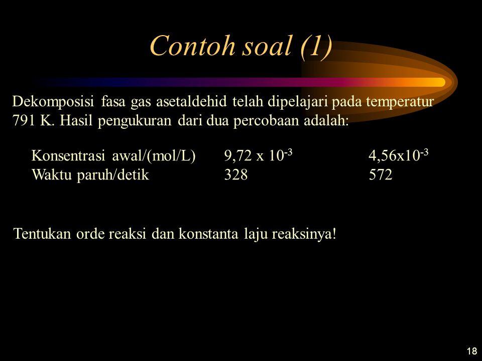18 Contoh soal (1) Dekomposisi fasa gas asetaldehid telah dipelajari pada temperatur 791 K. Hasil pengukuran dari dua percobaan adalah: Konsentrasi aw