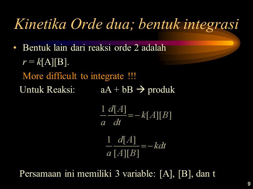 9 Kinetika Orde dua; bentuk integrasi •Bentuk lain dari reaksi orde 2 adalah r = k[A][B]. More difficult to integrate !!! Untuk Reaksi: aA + bB  prod