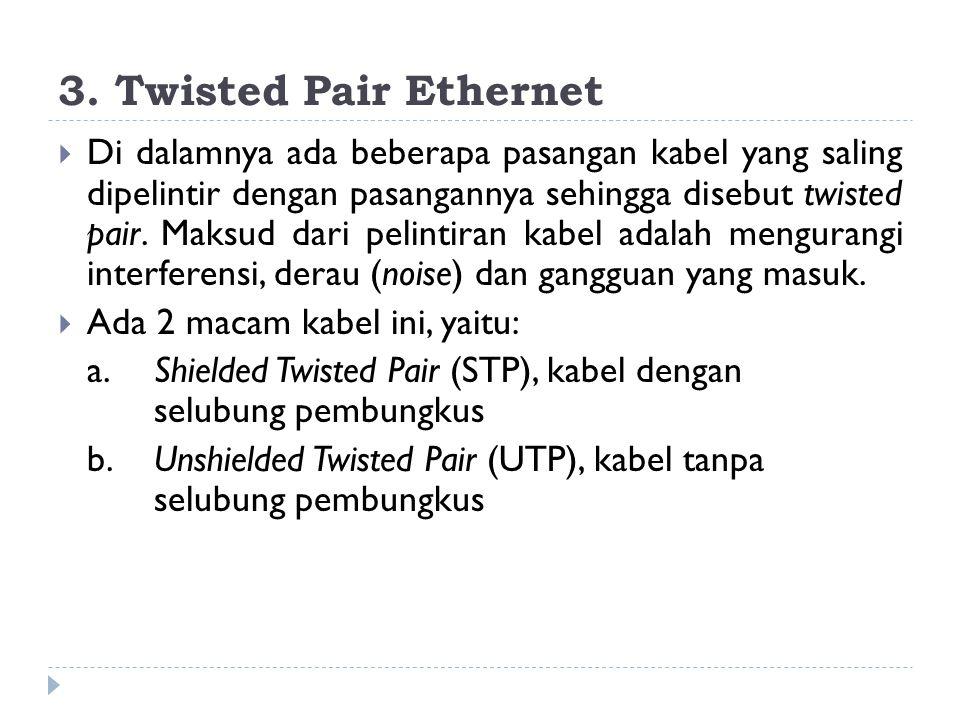 3. Twisted Pair Ethernet  Di dalamnya ada beberapa pasangan kabel yang saling dipelintir dengan pasangannya sehingga disebut twisted pair. Maksud dar