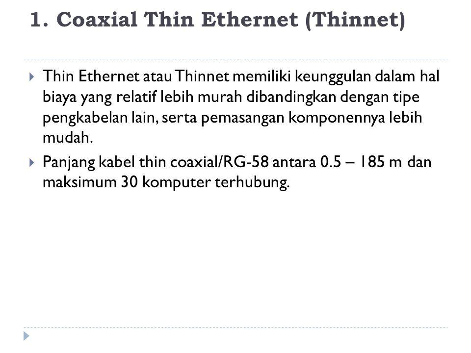 1. Coaxial Thin Ethernet (Thinnet)  Thin Ethernet atau Thinnet memiliki keunggulan dalam hal biaya yang relatif lebih murah dibandingkan dengan tipe
