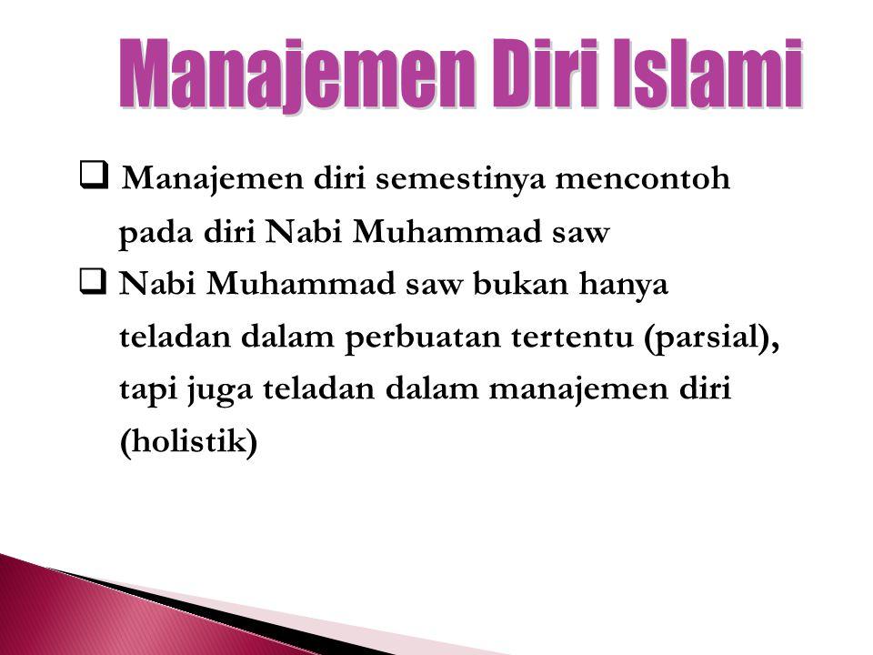  Manajemen diri semestinya mencontoh pada diri Nabi Muhammad saw  Nabi Muhammad saw bukan hanya teladan dalam perbuatan tertentu (parsial), tapi juga teladan dalam manajemen diri (holistik)