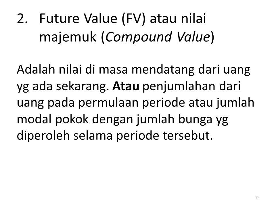 Adalah nilai di masa mendatang dari uang yg ada sekarang. Atau penjumlahan dari uang pada permulaan periode atau jumlah modal pokok dengan jumlah bung