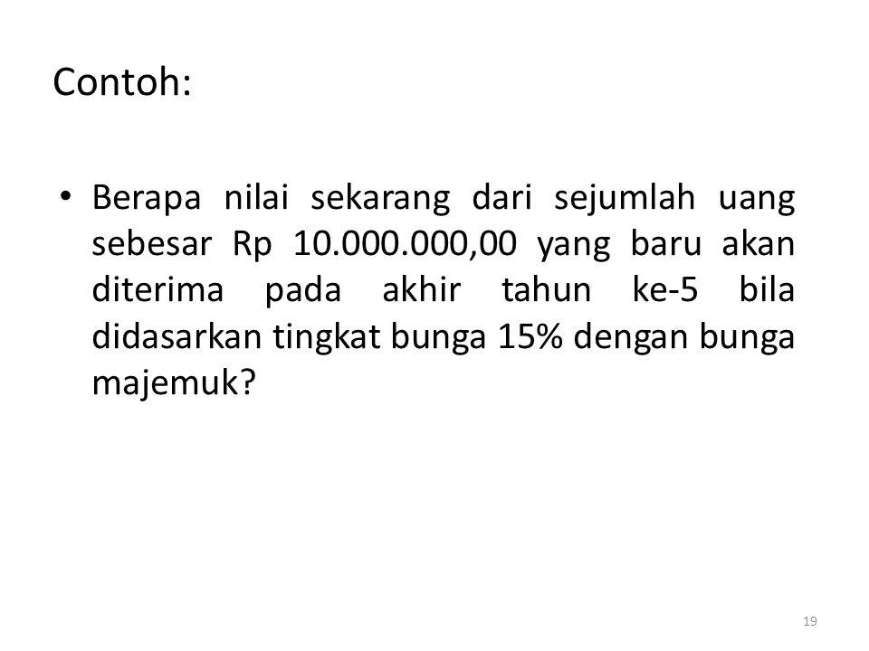 Contoh: • Berapa nilai sekarang dari sejumlah uang sebesar Rp 10.000.000,00 yang baru akan diterima pada akhir tahun ke-5 bila didasarkan tingkat bung