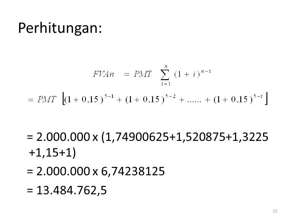 Perhitungan: = 2.000.000 x (1,74900625+1,520875+1,3225 +1,15+1) = 2.000.000 x 6,74238125 = 13.484.762,5 25