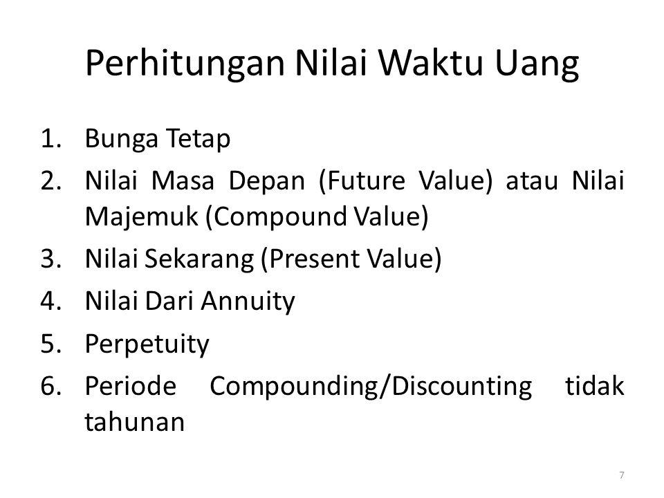 Perhitungan Nilai Waktu Uang 1.Bunga Tetap 2.Nilai Masa Depan (Future Value) atau Nilai Majemuk (Compound Value) 3.Nilai Sekarang (Present Value) 4.Ni