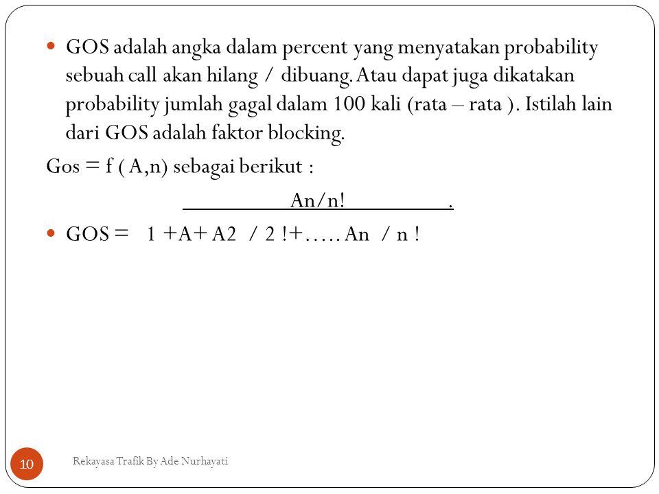  GOS adalah angka dalam percent yang menyatakan probability sebuah call akan hilang / dibuang. Atau dapat juga dikatakan probability jumlah gagal dal