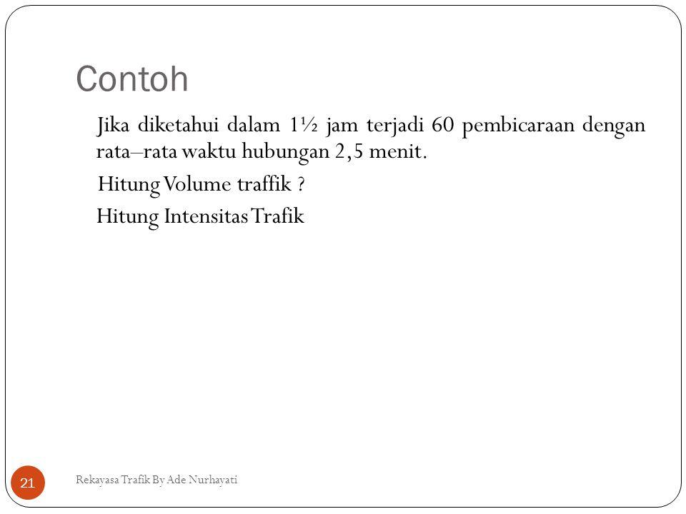 Contoh Rekayasa Trafik By Ade Nurhayati 21 Jika diketahui dalam 1½ jam terjadi 60 pembicaraan dengan rata–rata waktu hubungan 2,5 menit. Hitung Volume