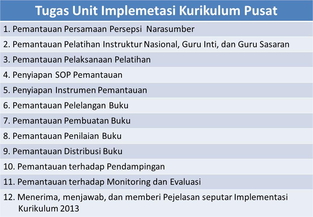 Tugas Unit Implemetasi Kurikulum Pusat 1. Pemantauan Persamaan Persepsi Narasumber 2. Pemantauan Pelatihan Instruktur Nasional, Guru Inti, dan Guru Sa