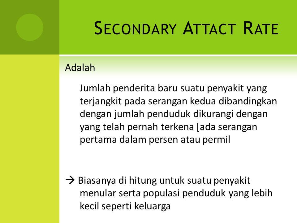 S ECONDARY A TTACT R ATE Adalah Jumlah penderita baru suatu penyakit yang terjangkit pada serangan kedua dibandingkan dengan jumlah penduduk dikurangi