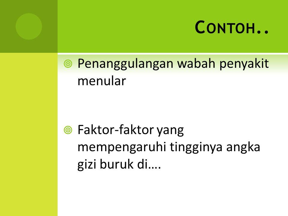 C ONTOH..  Penanggulangan wabah penyakit menular  Faktor-faktor yang mempengaruhi tingginya angka gizi buruk di….