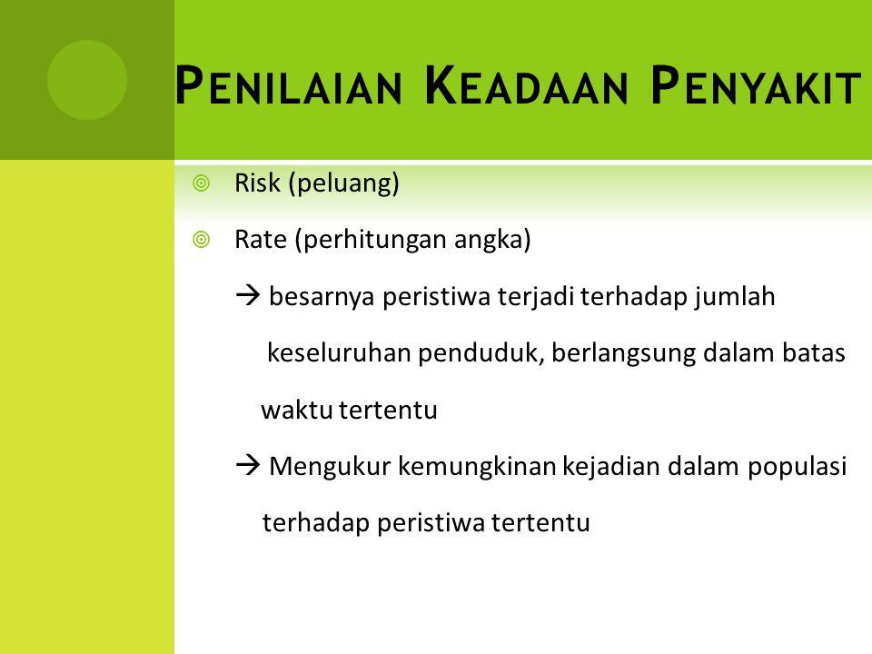 P ENILAIAN K EADAAN P ENYAKIT  Risk (peluang)  Rate (perhitungan angka)  besarnya peristiwa terjadi terhadap jumlah keseluruhan penduduk, berlangsu