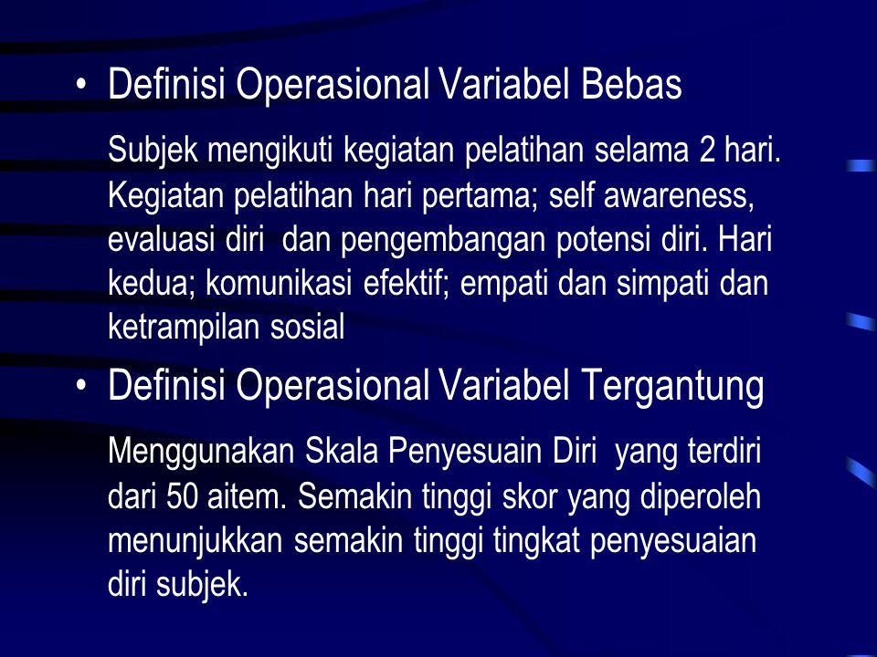 •Definisi Operasional Variabel Bebas Subjek mengikuti kegiatan pelatihan selama 2 hari. Kegiatan pelatihan hari pertama; self awareness, evaluasi diri