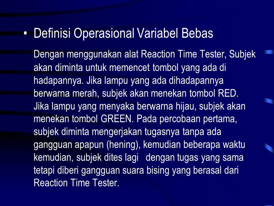 •Definisi Operasional Variabel Tergantung Waktu reaksi subjek dalam merespon stimulus lampu diukur dengan alat pencatat waktu yaitu Stop Watch yang terdapat dalam Reaction Time Tester.