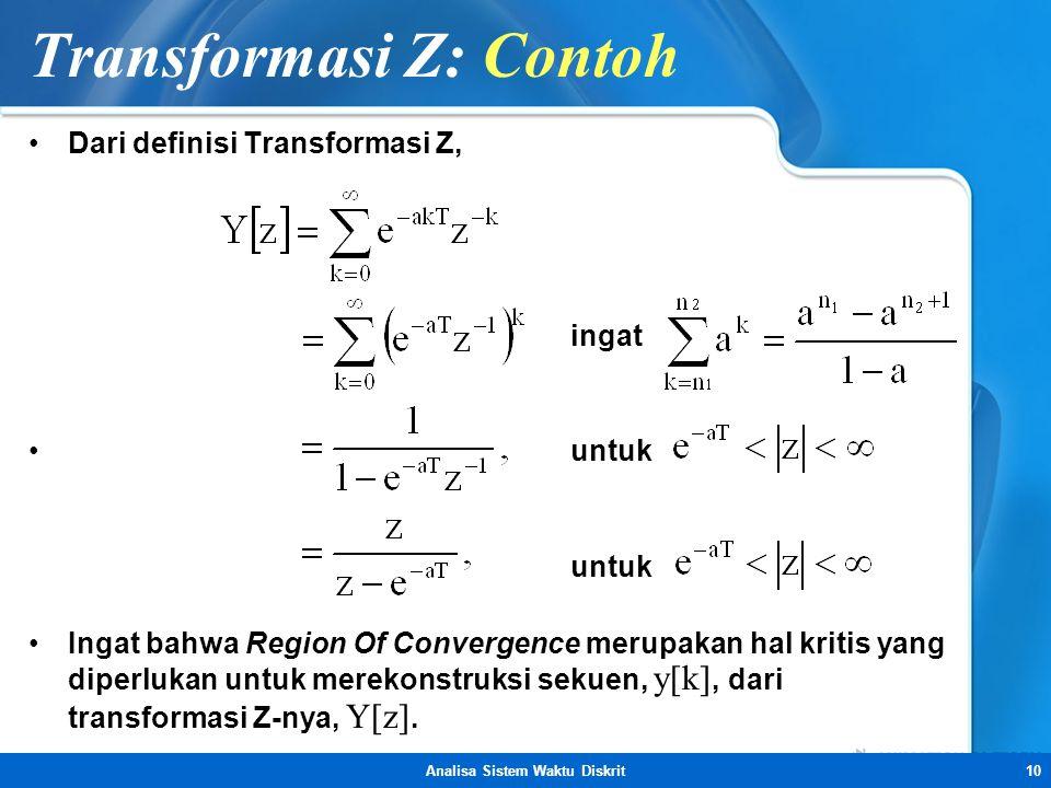 Analisa Sistem Waktu Diskrit10 Transformasi Z: Contoh •Dari definisi Transformasi Z, ingat • untuk untuk •Ingat bahwa Region Of Convergence merupakan