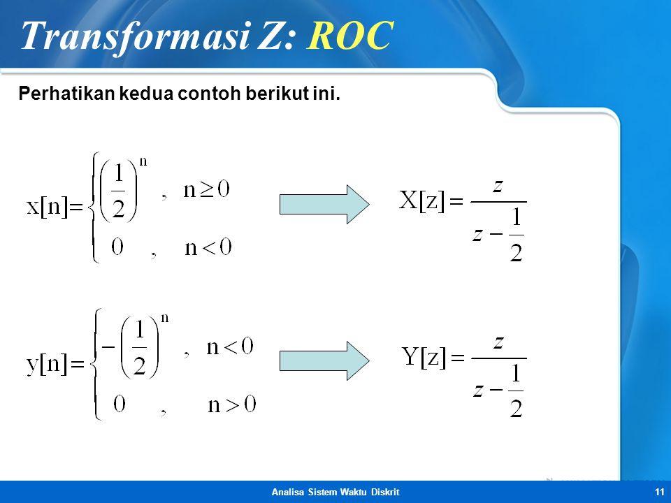 Analisa Sistem Waktu Diskrit11 Transformasi Z: ROC Perhatikan kedua contoh berikut ini.
