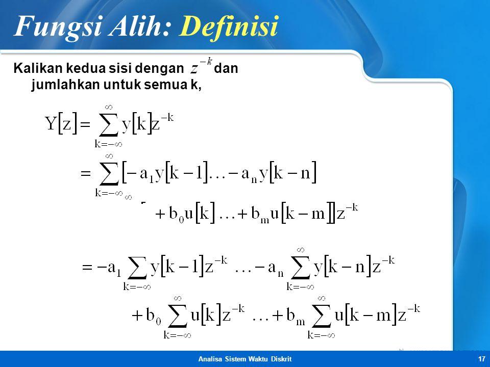 Analisa Sistem Waktu Diskrit17 Fungsi Alih: Definisi Kalikan kedua sisi dengan dan jumlahkan untuk semua k,