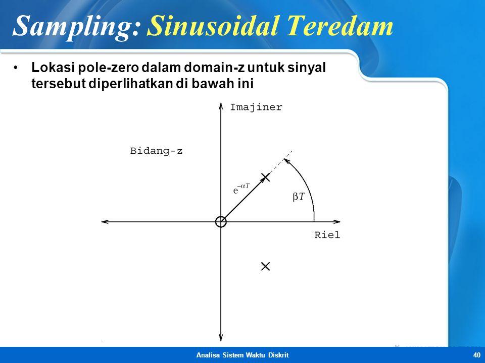 Analisa Sistem Waktu Diskrit40 Sampling: Sinusoidal Teredam •Lokasi pole-zero dalam domain-z untuk sinyal tersebut diperlihatkan di bawah ini
