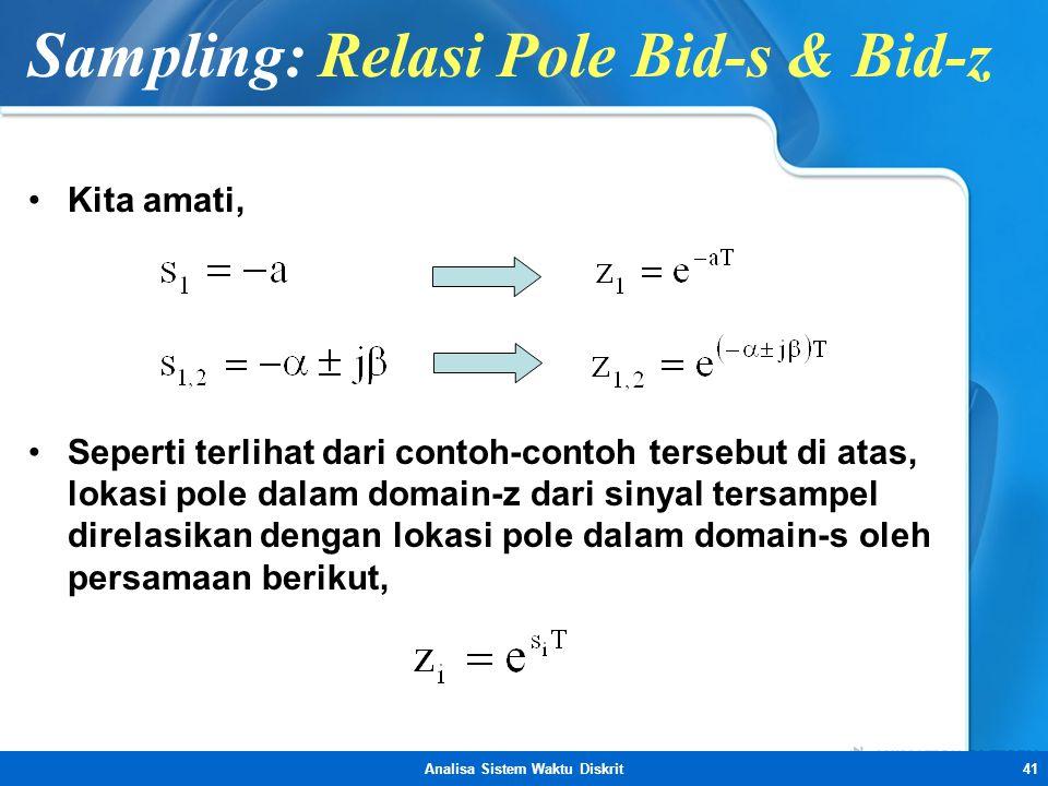 Analisa Sistem Waktu Diskrit41 Sampling: Relasi Pole Bid-s & Bid-z •Kita amati, •Seperti terlihat dari contoh-contoh tersebut di atas, lokasi pole dal
