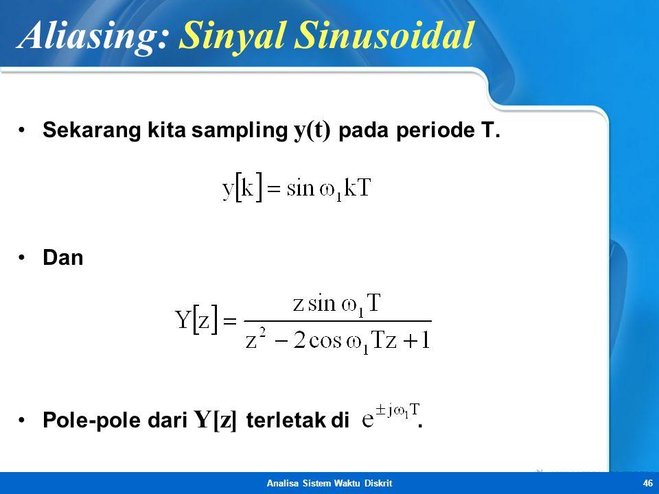 Analisa Sistem Waktu Diskrit46 Aliasing: Sinyal Sinusoidal •Sekarang kita sampling y(t) pada periode T. •Dan •Pole-pole dari Y[z] terletak di.