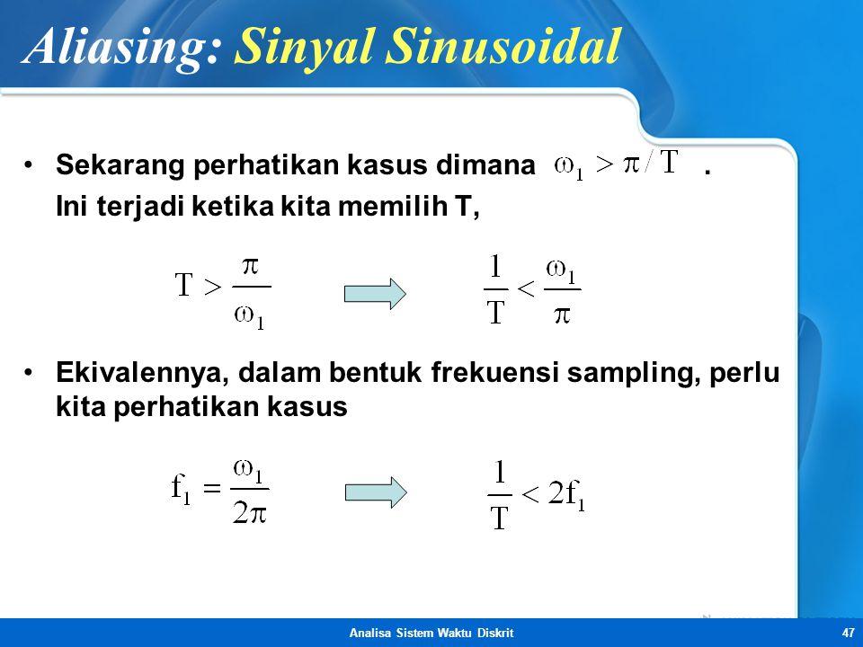Analisa Sistem Waktu Diskrit47 Aliasing: Sinyal Sinusoidal •Sekarang perhatikan kasus dimana. Ini terjadi ketika kita memilih T, •Ekivalennya, dalam b