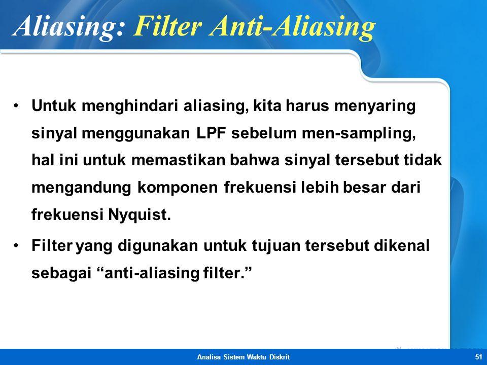 Analisa Sistem Waktu Diskrit51 Aliasing: Filter Anti-Aliasing •Untuk menghindari aliasing, kita harus menyaring sinyal menggunakan LPF sebelum men-sam