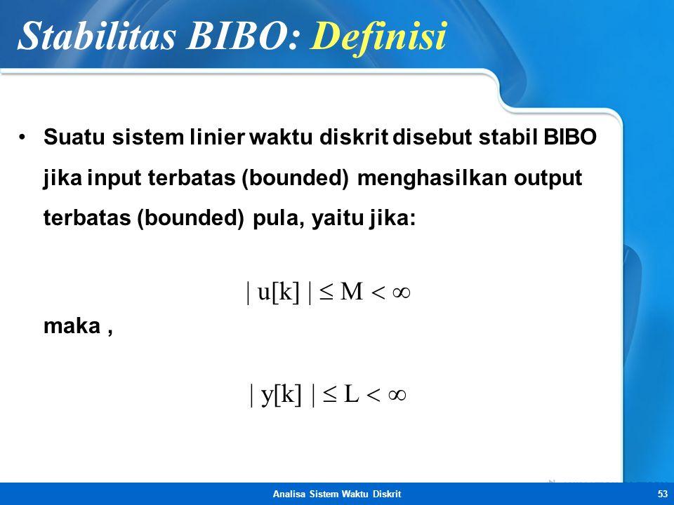 Analisa Sistem Waktu Diskrit53 Stabilitas BIBO: Definisi •Suatu sistem linier waktu diskrit disebut stabil BIBO jika input terbatas (bounded) menghasi