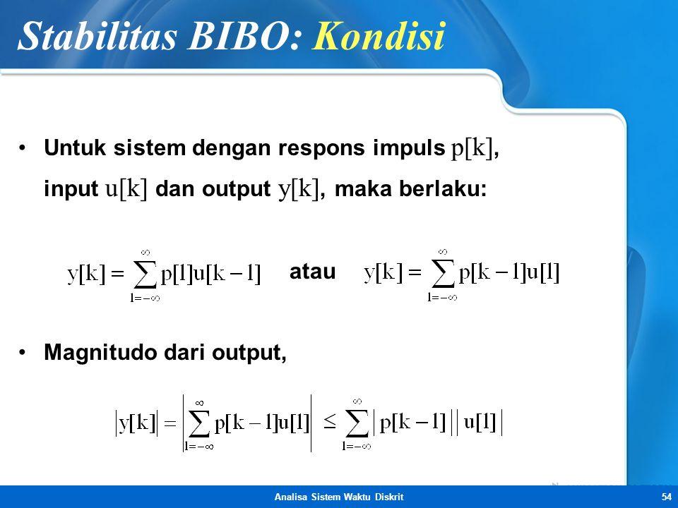 Analisa Sistem Waktu Diskrit54 Stabilitas BIBO: Kondisi •Untuk sistem dengan respons impuls p[k], input u[k] dan output y[k], maka berlaku: atau •Magn