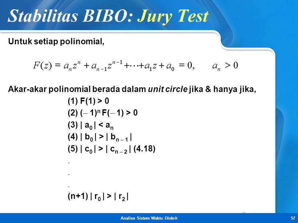 Analisa Sistem Waktu Diskrit57 Stabilitas BIBO: Jury Test Untuk setiap polinomial, Akar-akar polinomial berada dalam unit circle jika & hanya jika, (1