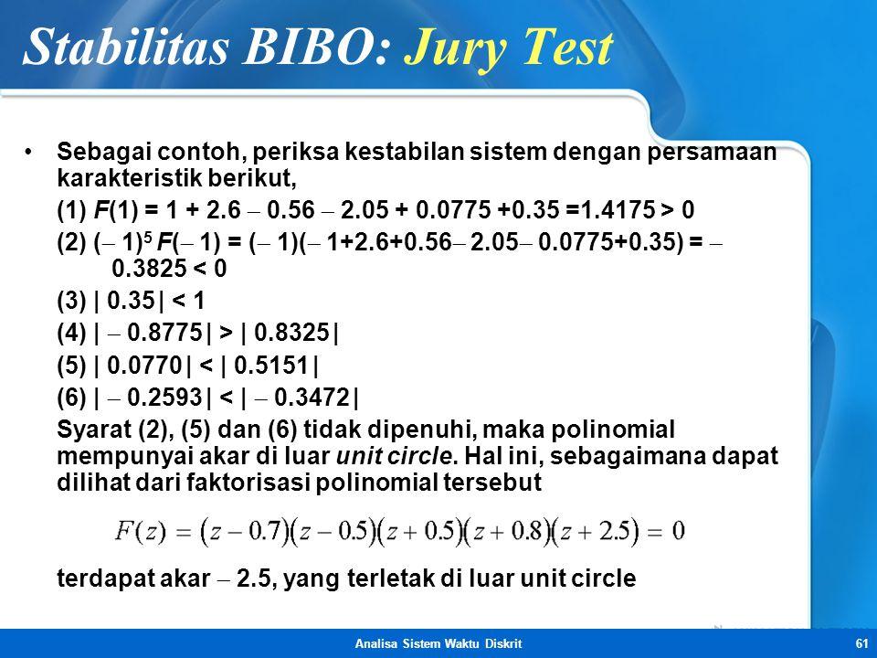 Analisa Sistem Waktu Diskrit61 Stabilitas BIBO: Jury Test •Sebagai contoh, periksa kestabilan sistem dengan persamaan karakteristik berikut, (1) F(1)