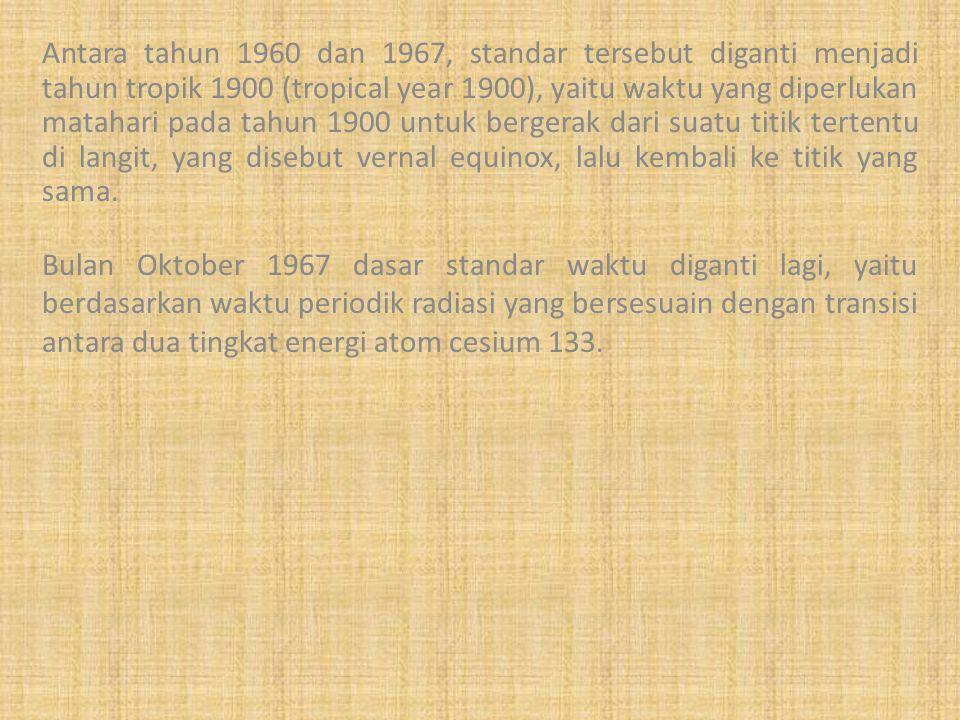 Antara tahun 1960 dan 1967, standar tersebut diganti menjadi tahun tropik 1900 (tropical year 1900), yaitu waktu yang diperlukan matahari pada tahun 1