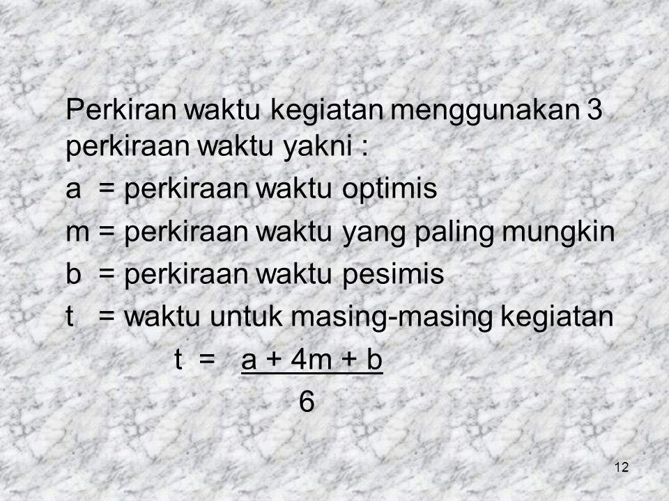 Perkiran waktu kegiatan menggunakan 3 perkiraan waktu yakni : a = perkiraan waktu optimis m = perkiraan waktu yang paling mungkin b = perkiraan waktu pesimis t = waktu untuk masing-masing kegiatan t = a + 4m + b 6 12