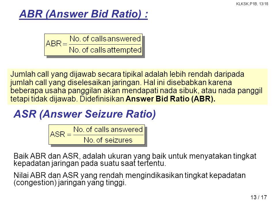 KLKSK,P1B, 13/18 13 / 17 Jumlah call yang dijawab secara tipikal adalah lebih rendah daripada jumlah call yang diselesaikan jaringan. Hal ini disebabk