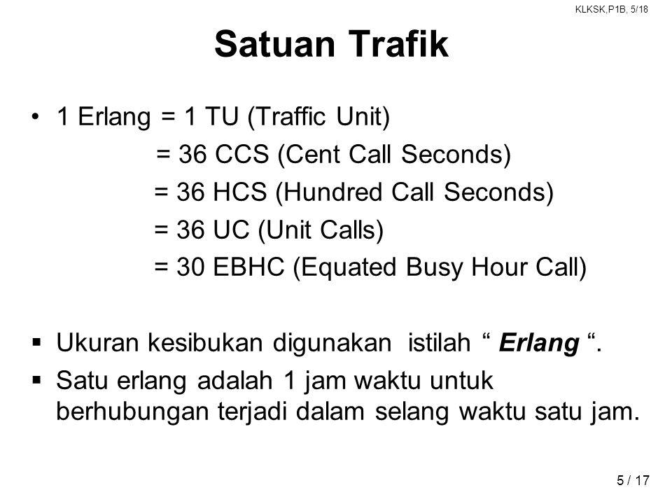 KLKSK,P1B, 5/18 5 / 17 Satuan Trafik •1 Erlang = 1 TU (Traffic Unit) = 36 CCS (Cent Call Seconds) = 36 HCS (Hundred Call Seconds) = 36 UC (Unit Calls) = 30 EBHC (Equated Busy Hour Call)  Ukuran kesibukan digunakan istilah Erlang .