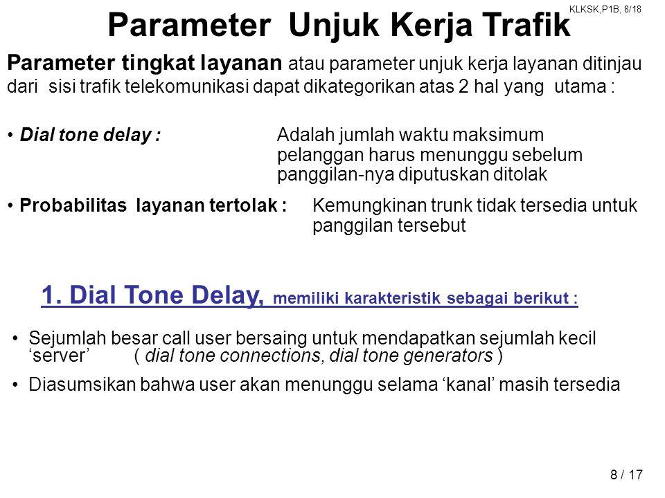 KLKSK,P1B, 8/18 8 / 17 Parameter Unjuk Kerja Trafik Parameter tingkat layanan atau parameter unjuk kerja layanan ditinjau dari sisi trafik telekomunikasi dapat dikategorikan atas 2 hal yang utama : •Dial tone delay :Adalah jumlah waktu maksimum pelanggan harus menunggu sebelum panggilan-nya diputuskan ditolak •Probabilitas layanan tertolak : Kemungkinan trunk tidak tersedia untuk panggilan tersebut 1.