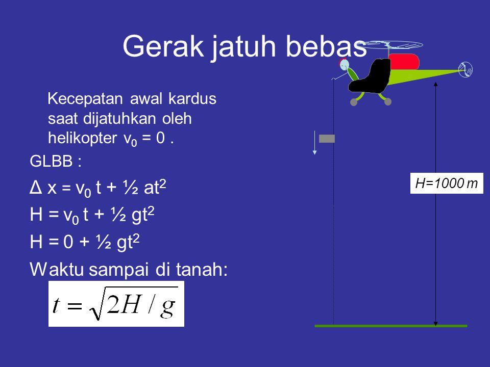 Gerak jatuh bebas Kecepatan awal kardus saat dijatuhkan oleh helikopter v 0 = 0. GLBB : Δ x = v 0 t + ½ at 2 H = v 0 t + ½ gt 2 H = 0 + ½ gt 2 Waktu s