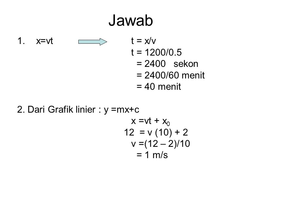 Jawab 1.x=vt t = x/v t = 1200/0.5 = 2400 sekon = 2400/60 menit = 40 menit 2. Dari Grafik linier : y =mx+c x =vt + x 0 12 = v (10) + 2 v =(12 – 2)/10 =